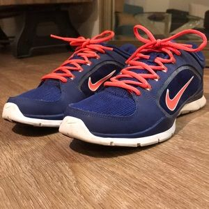 Royal blue/neon pink/white Nike trainers